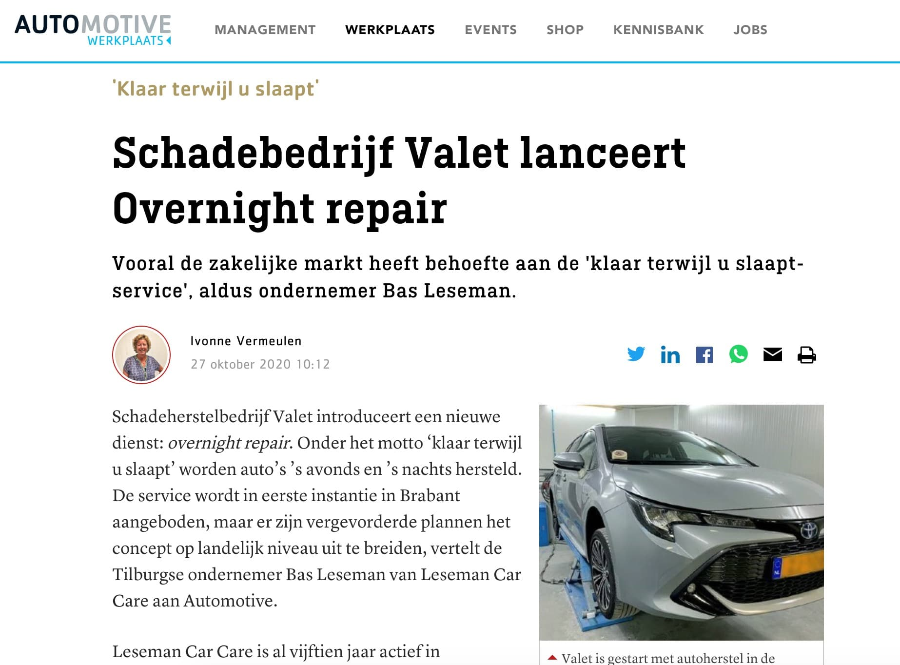 Valet op Automotive Online - Overnight repair